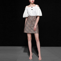 2 Piece Women Off Shoulder Button Lantern Sleeve Strap Blouses Casual Clothing Sets And Plaid Pocket A Line Skirt Suits B795