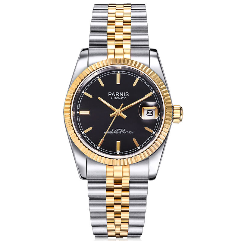 Parnis Royal Seriers Luminous Mens Steel Watchband Fashion Single Calendar Luminous Automatic Mechanical Watch Wristwatch
