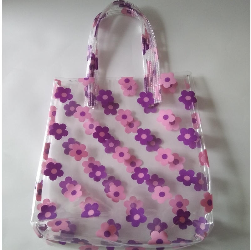 2018 Summer Women Clear Plastic Transparent Beach Bag PVC Jelly Bag Flower  Printing Contrast Color Bag Handbag Shoulder Bags 6b60d33c8f