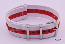 New arrival ! 1PCS High quality 22MM -2white-red -Nylon Watch band  straps waterproof watch strap