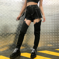 New Jazz Dance Pants Women Hip Hop/Street/Pole Dance Performance Stage Costume GoGo Dancer Black Jeans Rave Outfit DQL1573