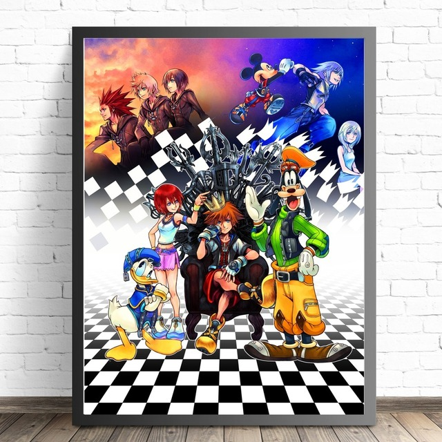 Kingdom Hearts Cartoon Remix Design Posters And Prints Canvas Art Painting Wall Pictures For Living Room Decoration Home Decor 2
