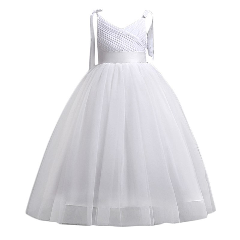VOGUEON Girls Straps Princess Evening Ball Gown Summer Sleeveless Bridesmaid Wedding Party Dress Pageant Performance Teen Dress summer alluring spaghetti straps sleeveless spliced solid color dress for women