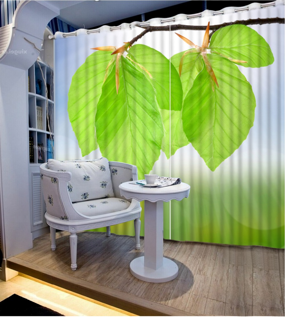 Customize size home decor decoration green leaf curtains for Green decorations for home