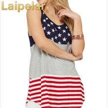 Laipelar 2018 Women Girls Popular America Flag Star Stripes Print Vest Womens Tanks Tops New Brand Clothing Tank Top kids striped and star flag print vest dress