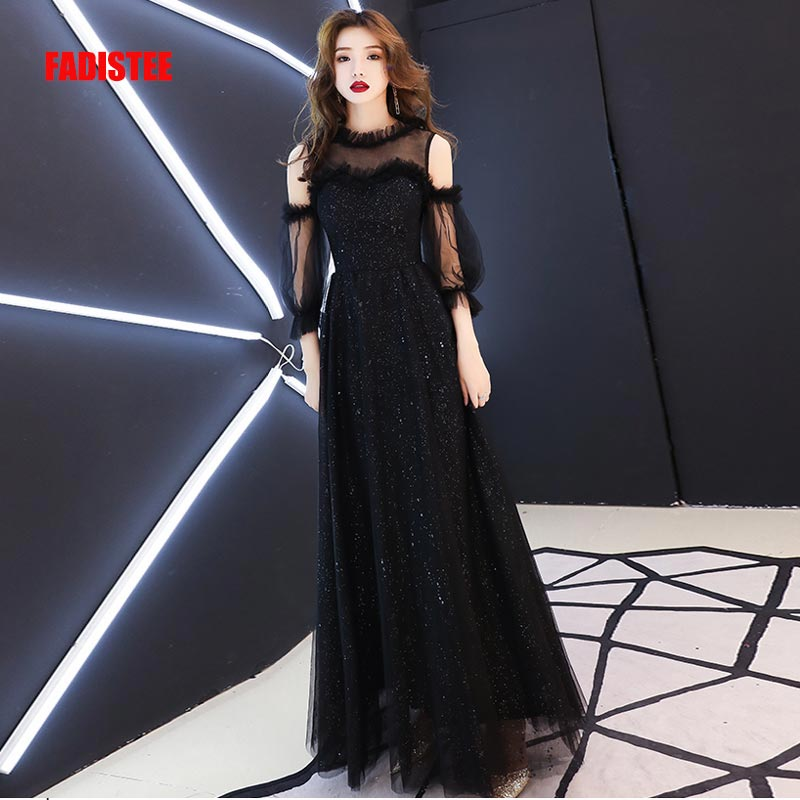 FADISTEE New arrival elegant long   dress   prom party   dresses   formal   dress   lace three quarter sleeves   evening     dress   little balck
