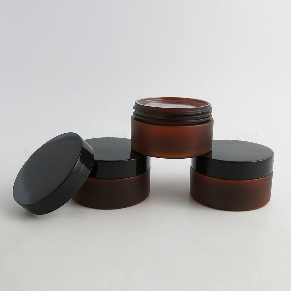 20 X 100g Frost Amber Plastic Jar With Black Lid Cosmetic Containers Refillable Make Up Cream Jars Cosmetic Packaging