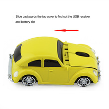 Wireless Computer Mouse Cool Beetle Car Shape Mice 1600DPI With USB Receiver
