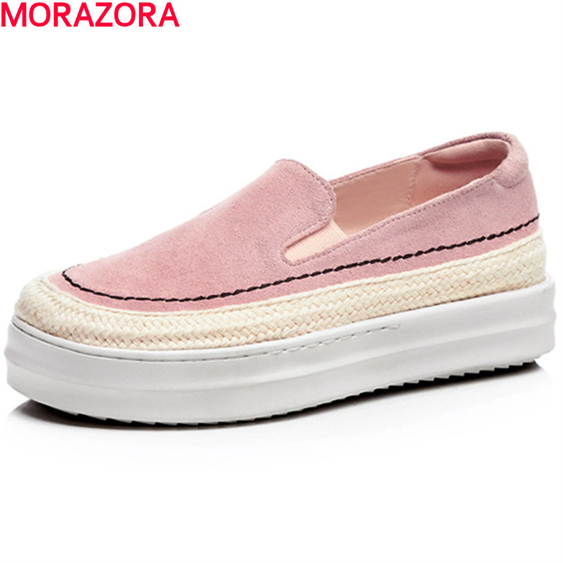 MORAZORA big size 34-42 spring autumn genuine leather flat shoes woman round toe platform fashion casual slip-on women flats morazora spring autumn genuine leather flat shoes woman round toe platform fashion casual slip on women flats gold
