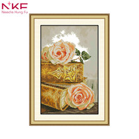 The bible and roses counted patterns print on canvas cross stitch kit chinese embroidery needlework sets diy handicraft decor