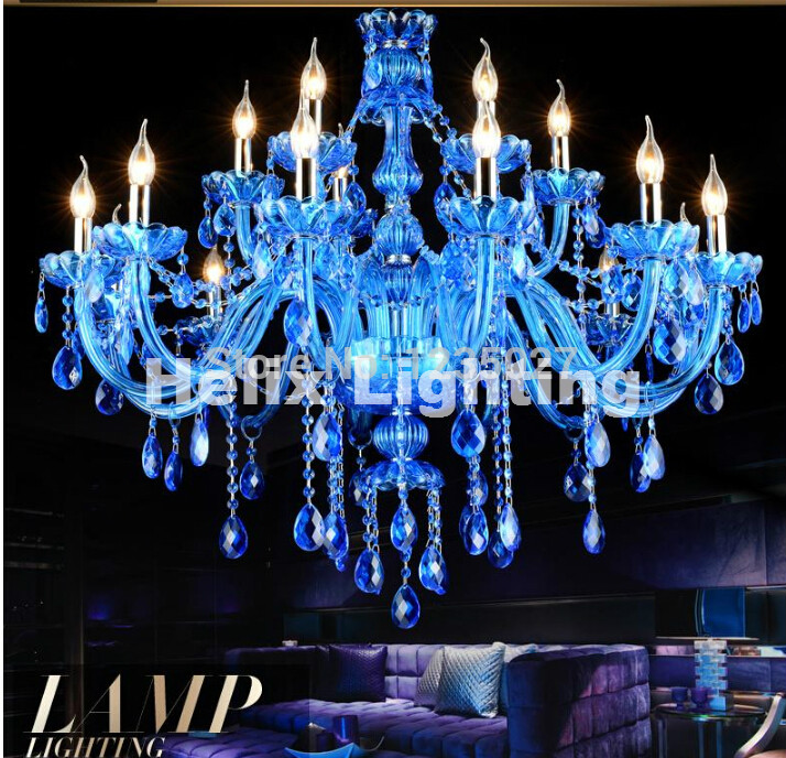 Free Shipping Factory Direct Selling Blue crystal chandelier traditional glass arm 8L/8+4L/12+6L Crystal Chandelier Home Lights