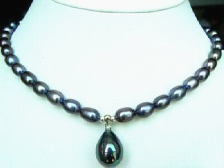 12X16mm Water drops black Shell Pearl Pendant Necklace
