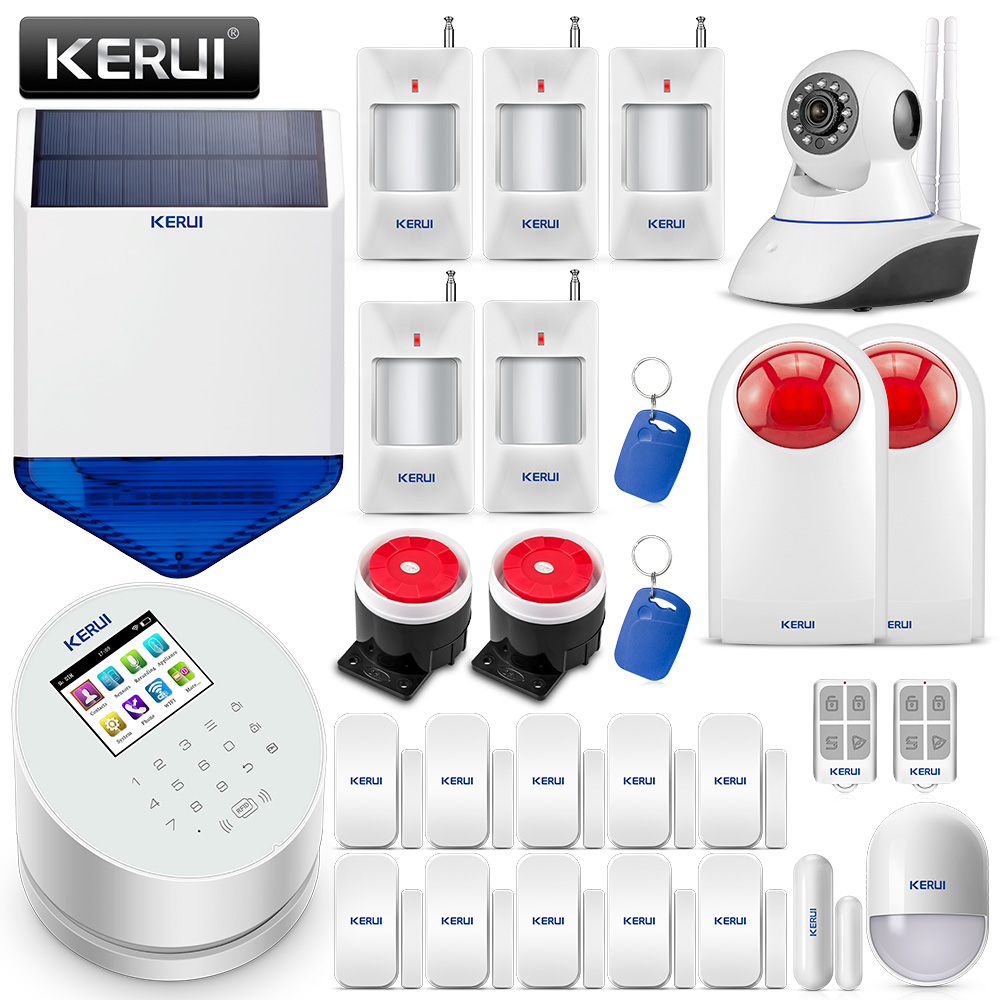 Russian Stock KERUI W2 WIFI GSM Alarm System IOS Android APP Remote Control Wi-Fi GSM PSTN Burglar Home Security Alarm System new kerui wireless portable remote control for gsm pstn home alarm system kr8218g home security voice burglar smart alarm system
