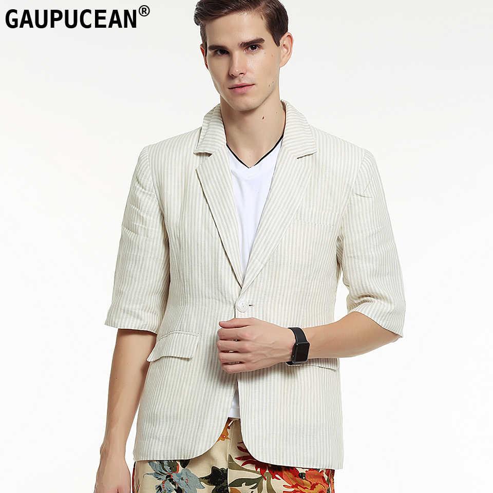 Gaupucean 100%リネン男ブレザー高品質夏パーティーバーナイトクラブベージュハーフスリーブシングルボタン男性カジュアルスーツジャケット