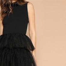 Elegant Glamorous Long Dress Black Combined Mesh Ruffle