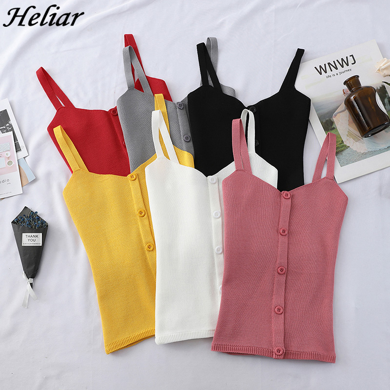 HELIAR All Match Vest Female Summer Sleeveless Knitting Inside Bottom Short Sexy Crop   Top   Club Solid   Tank     Tops   With Buttons