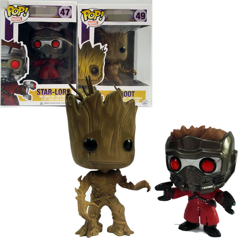 Funko Pop Star Lord&Groot Tree man Guardians of the Galaxy Anime Collection Action Figure Model PVC Kids Toys new funko pop guardians of the galaxy tree people groot
