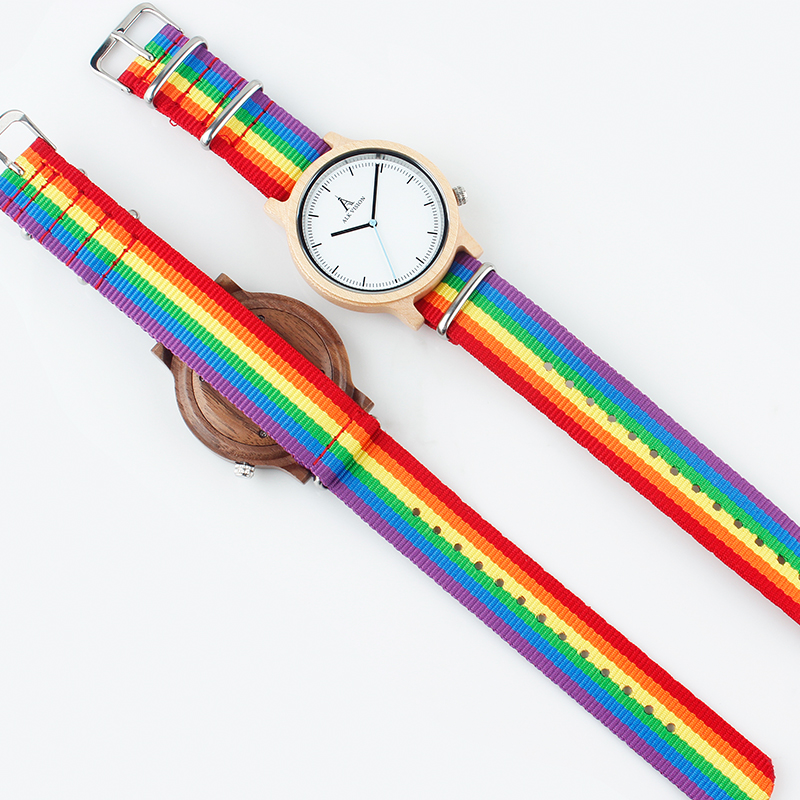 Image 5 - ALK Vision Pride Rainbow Top Wood Watches Luxury Brand Women Mens Wooden Watch with Canvas LGBT Strap Fashion Casual Wristwatch-in Quartz Watches from Watches