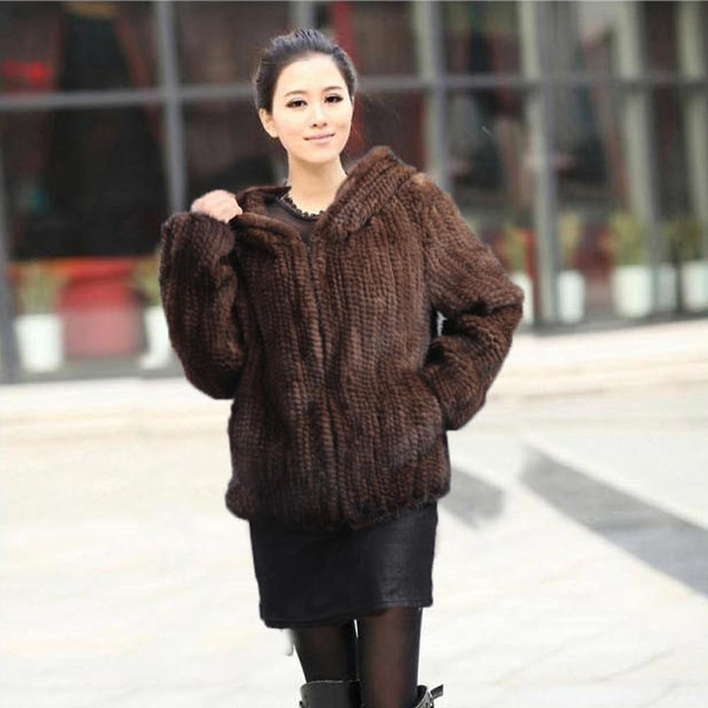 Black Manteau Hiver Automne Fourrure 100 Tricoté Naturel Véritable Capuchon Vison Chaude De Réel brown Femmes À Vente Veste wYaxFAqp