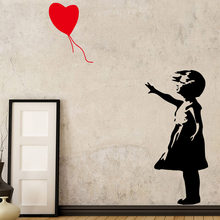 Classic Vinyl Stickers Girl With Red Balloon Of Banksy For Home Living Room Decoration Decal Bedroom Mural Wall Sticker LW52(China)
