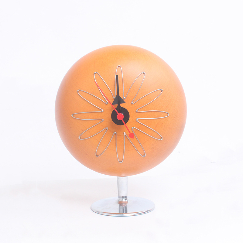 Creative Wooden Table Clock Round Ball Shape Needle Mute Fashion Clock Watch Bedroom Desktop Vintage Decoration Adornment Gifts