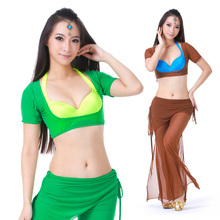 Belly Dance Costume Outfits 2 pics Women's Spandex Short Sleeve  Blouse&Pants 25 Colors pics