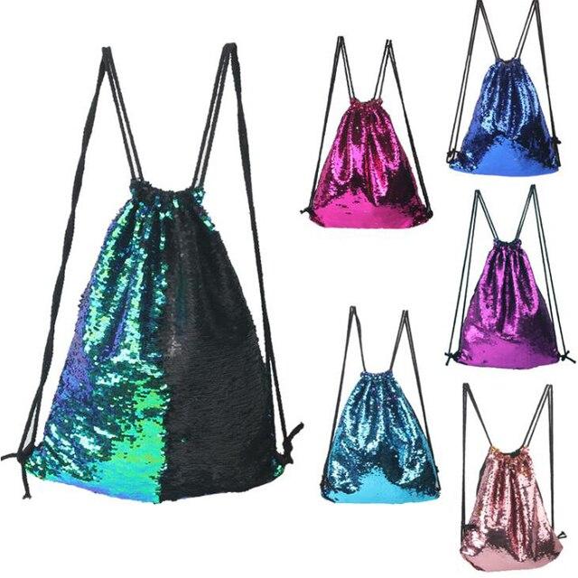 Mermaid Sequins Drawstring Sports Bag Climbing Hiking Shopping Backpack Mom Students Women Girls Bags 8 Colors