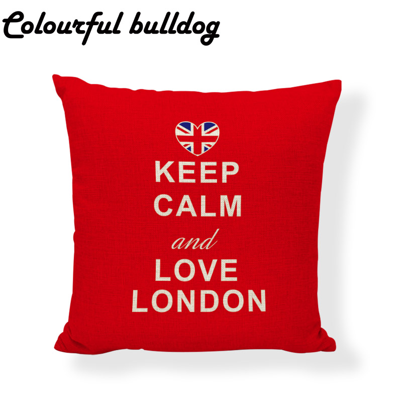 Elegant Keep Calm Series Cushion Cover Cartoon 43*43cm Love London Meditation Pillowcase Lounger Study Reading Decor Living Room