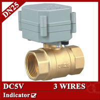 DC5V 3 Wires Motorised Valve Brass 2 Way BSP NPT 1 T25 B2 C With Indicator