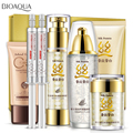 Silk Protein Aqua Skin Care Set 7Pcs Deep Moisturizing Hyaluronic Acid Liquid Anti Wrinkle Anti Aging Collagen Essence Cream Kit