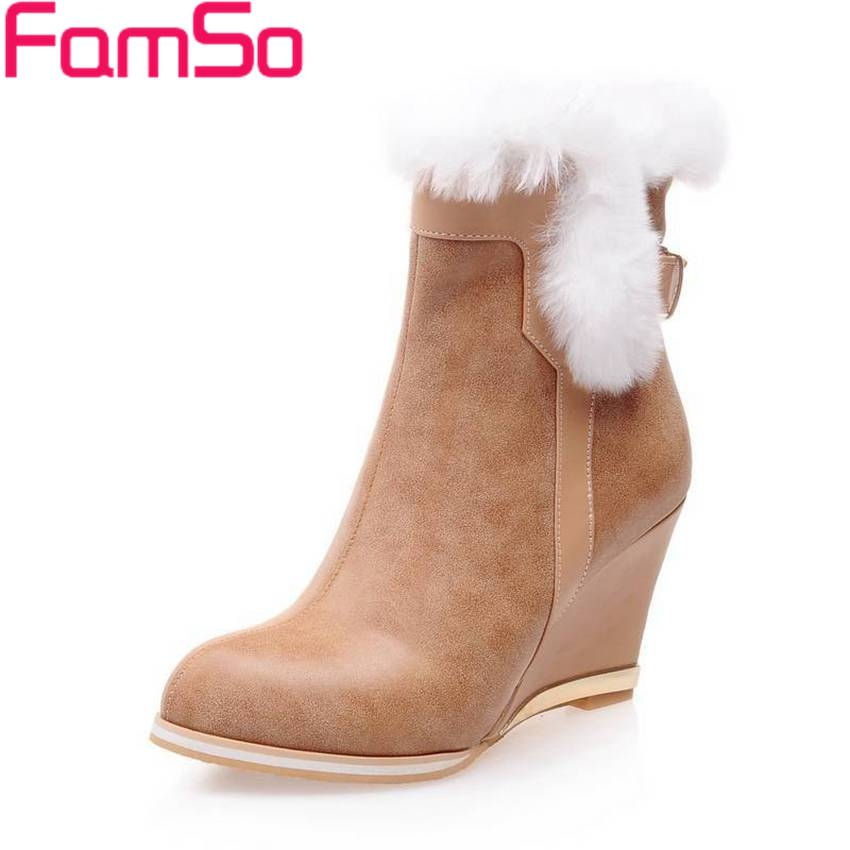 ФОТО Big Size34-43 2017 new Sexy Women Boots Wedges Pumps Pointed Toe High Quality Shoes Winter Female Ankle Snow Boots ZWB2070
