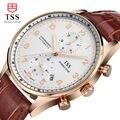 Mens Relógios TSS shell superfície café Ouro Relojes Hombre 2016 Top Marca de Luxo Relógios De Pulso Homens Relógio De Quartzo-Relógio à prova d' água