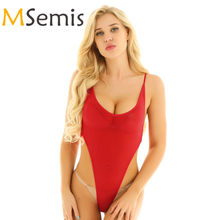 Swimwear Women's Swimsuit Crotchless Thong Leotard Swimming Suit One Piece Lingerie Bodysuit Spaghetti Straps High Cut Swimsuit(China)