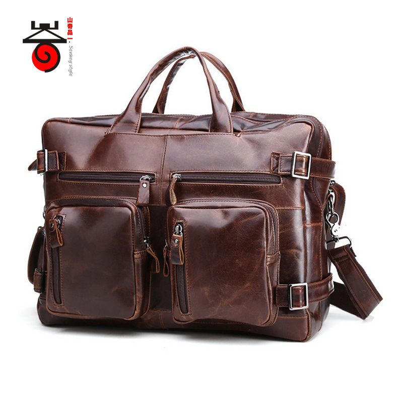 Senkey style 2017 Genuine leathe business bag men travel backpack 2016 fashion document real leather man