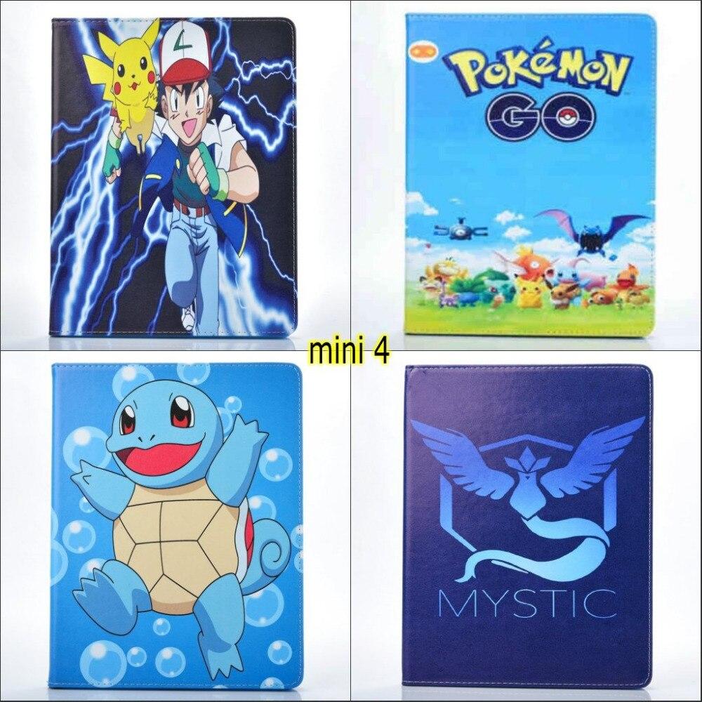 Fashion Pet Game Pokmon GO Articuno Moltres Zapdos tortoise pu leather Stand case cover for ipad mini 4 mini4 with screen film