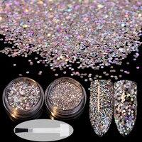 2pcs/set 3g Nail Sequins Tips 3g Glitter Powder Colorful Paillette with Brush Manicure Nail Art Decorations Set