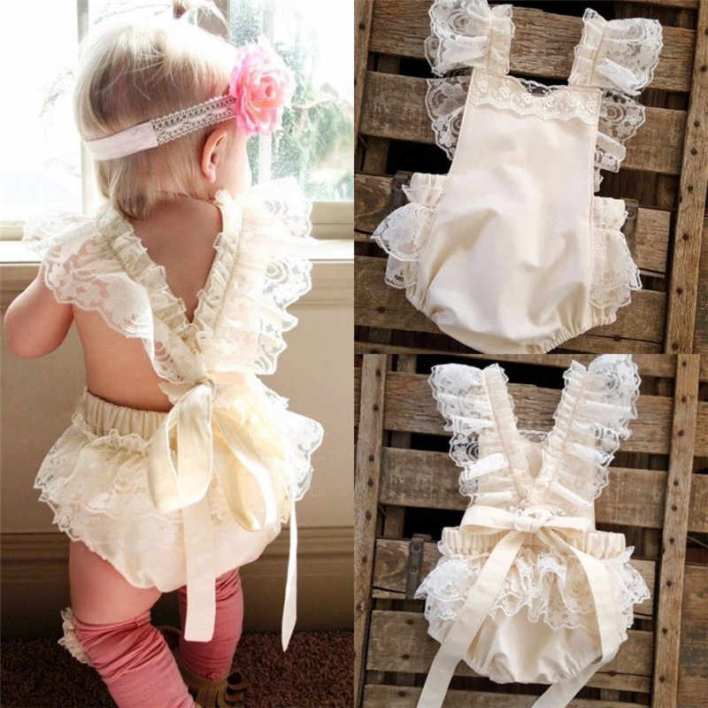 b5b7c2c8aff 2016 New Summer Baby Girl s Princess White Lace Bodysuit Baby Clothes  Newborn Jumpsuit Top Quality BEBE