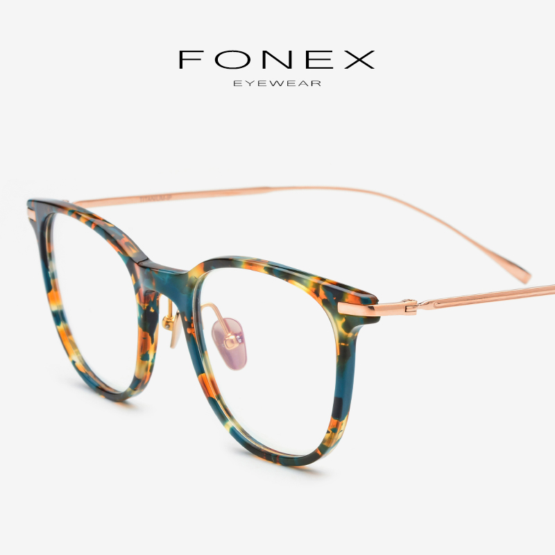 Acetate B Titanium Eyeglasses Frame Men Ultralight Vintage Round Myopia Optical Prescription Glasses Frames Women Eyewear