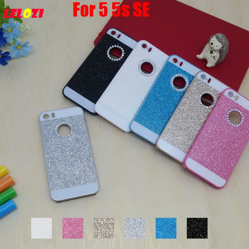 LELOZI Bling Shinning Glitter Hard PC Capinha Etui Case Cover Cove Fundas For iPhone 5 5s SE White Fashion Pink Blue Deluxe