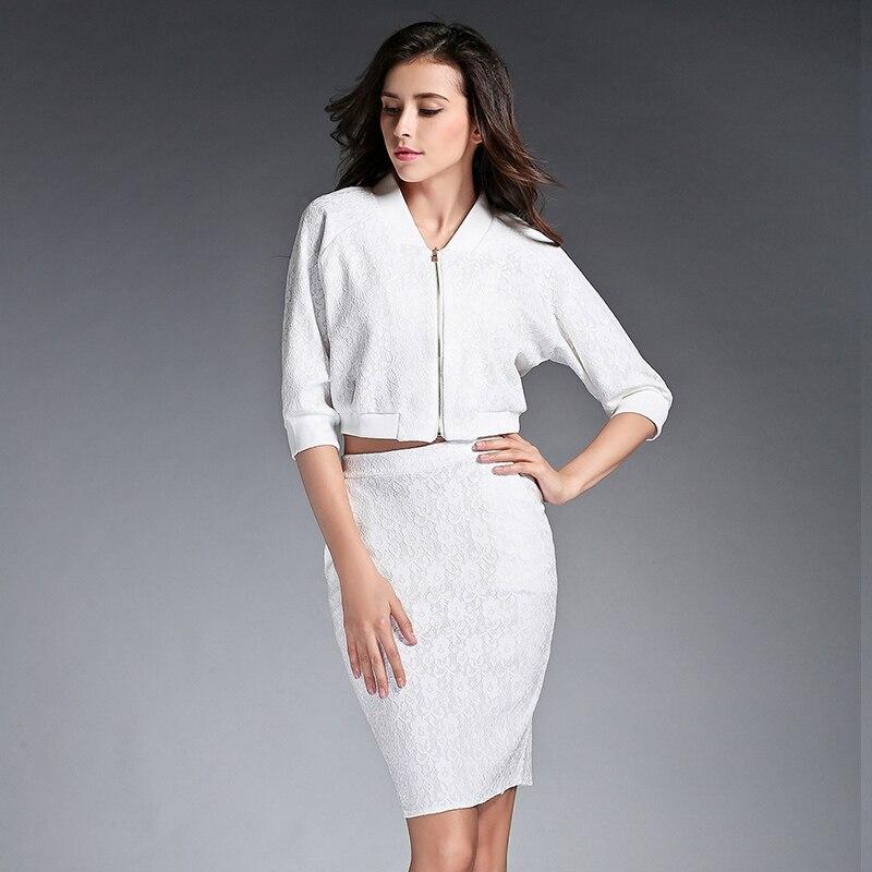 2 Piece Set Women Summer Black White Lace Elegant Skirt Suit 2017 Spring Office Uniform Designs