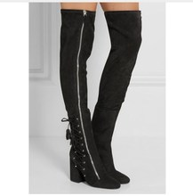 купить Stretch Cross-tied Tassels thigh high boots balck brown chunky high heel over the knee boots big size lace up women booties дешево