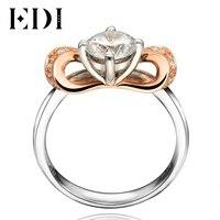 EDI Fée Style 0.8CT Round Cut Moissanite Anneaux De Mariage De Diamant 14 K 585 Rose Blanc Or Bandes de Fiançailles Fine Jewelry cadeaux