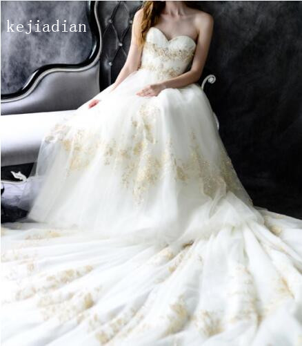 ذهبي دانتيل تول أبيض/عاجي فستان الزفاف مطرز بالخرز مثير زينة حبيب كاتدرائية ذيل ثوب زفاف فستان زفاف Vestidos
