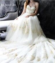 Oro encaje tul blanco/marfil vestido de boda bordado con cuentas Sexy Appliques sweetheart catedral tren boda vestido nupcial Vestidos