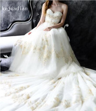 gold Lace Tulle White/Ivory Wedding Dress beading Sexy Appliques sweetheart cathedral train wedding gown Bridal Gown Vestidos