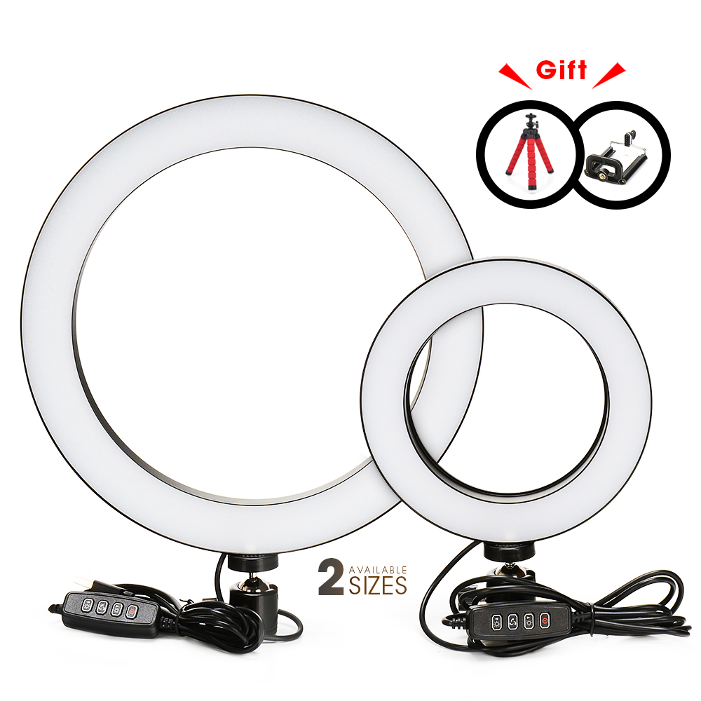 Photography LED Selfie Ring Light 16/26cm three-speed Stepless Lighting Dimmable With Cradle Head For Makeup Video Live Studio(China)