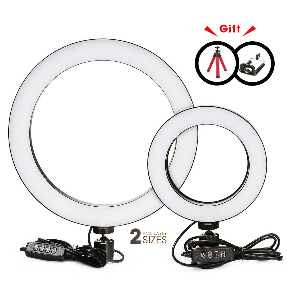 Fotografie LED Selfie Ring Licht 16/26 cm drei-geschwindigkeit Stufenlose Beleuchtung Dimmbar Mit Wiege Kopf Für Make-Up video Live Studio