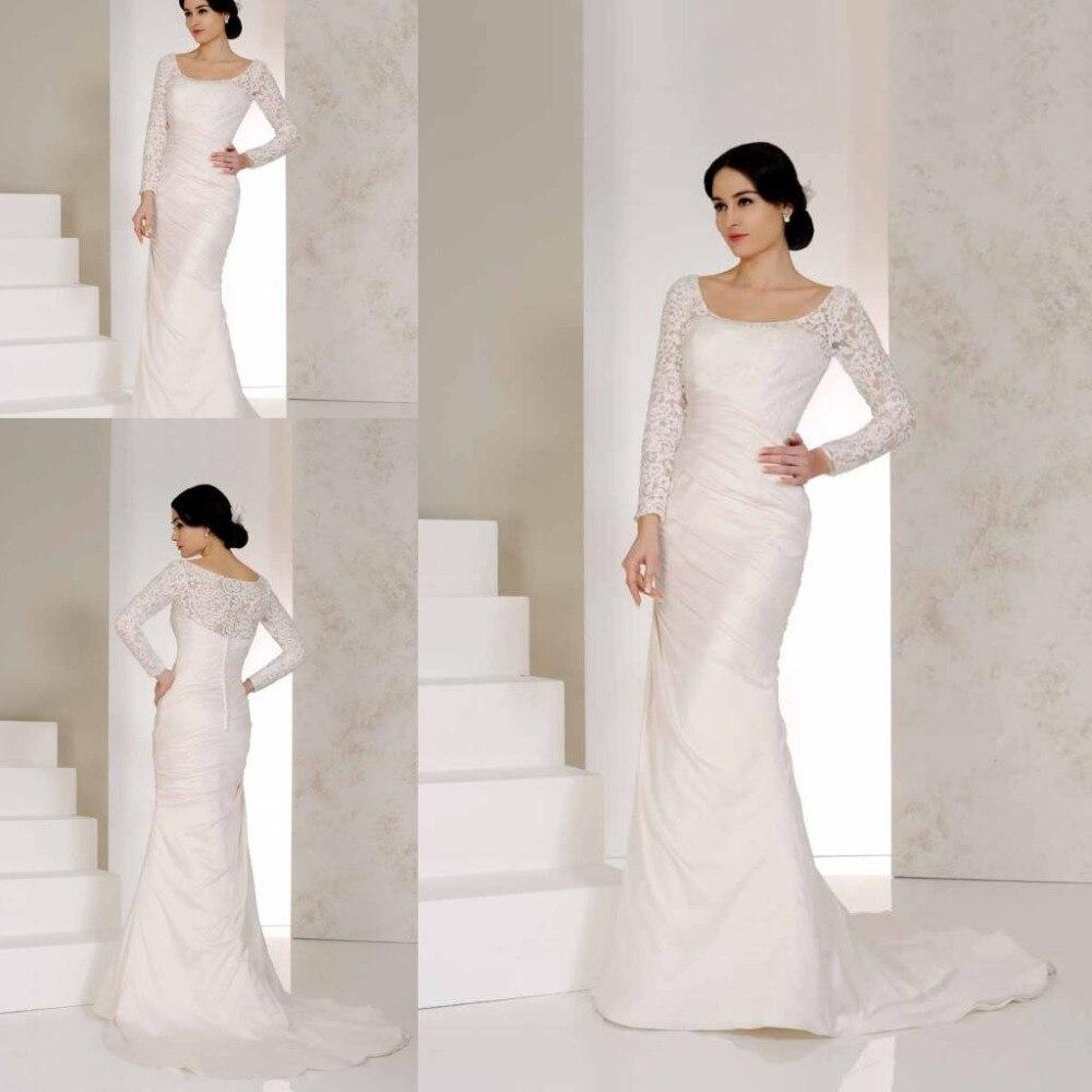 Modest Muslim Wedding Dresses Long Sleeves Scoop Neckline