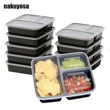 10 шт контейнеры для еды 3 отсека для хранения продуктов многоразовые контейнеры для дома/фитнеса приготовления еды