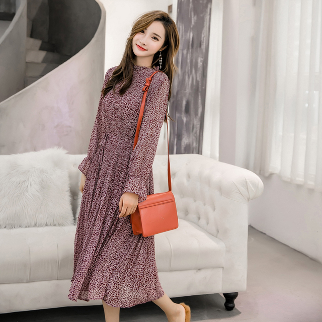 Elegant Stand Collar Floral Print Women Dress Full Sleeve Elastic Slim Waist Chiffon Spring A-line Long Dress 3
